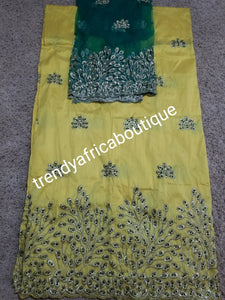 Nigerian Tranditional George wrapper. Embriodery/stones design in yellow/green matching net for blouse (not sewn). Small-George. Original yellow silk Geoege, embellished with green crystal stones and gold embriodery