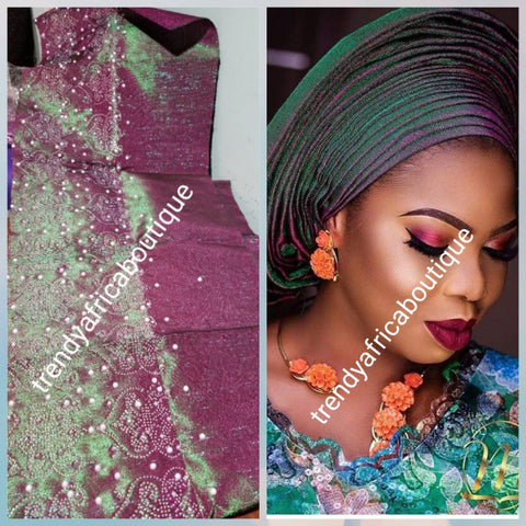 Magenta/green Latest metallic 2 tone aso-oke gele Bedazzled with shinning crystal stones and pearls. Sold as Gele only. Nigerian Traditional Aso-oke head wrap for party wear