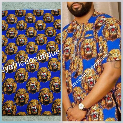 Sale; Original quality Royal blue/gold Isi-agu Igbo traditional wrapper use by men or women. Sold per yard, price is for one yard. Nigerian/igbo ceremonia fabric. Soft texture, authentic isi-agu fabric for Igbo title ceremony. Lion head print fabric