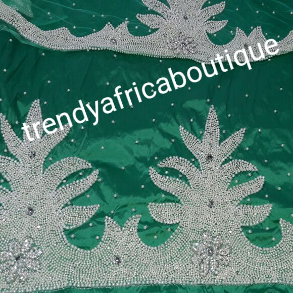 Sale: Mint Green Classic hand beaded and stoned work On Silk George wrapper. Nigerian Tradional wedding George fabric. 5 yards + 1.8yds matching blouse