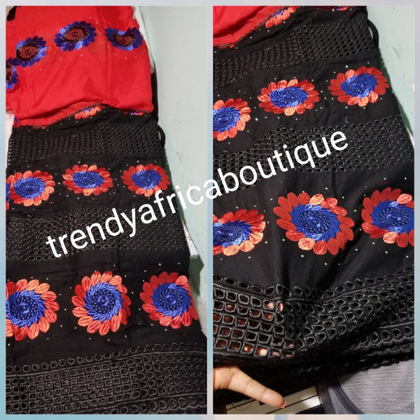 Latest design: Original quality African Swiss Voile Lace fabric black/Red/royalblue for making party dress. Beautiful black sold design black is 5yds + 1.8yds red voile for black combinations. Sold together as a set.