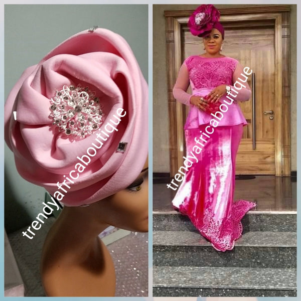 Baby pink color Women-turban. One size fit all turban. Beautiful flower design with a side brooch to add decor to your turban