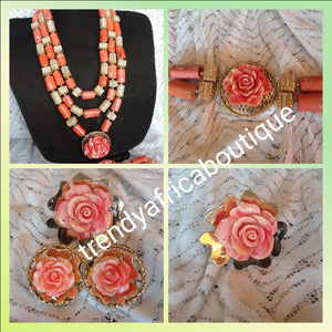 Make to order. 4pcs Edo Coral-necklace set with Gold accessories. Original Nigerian coral beaded 3 layer/earrings/bracelet and matching Ring for Nigerian Traditional Ceremonies. sold as a set. Price is for all set. Allow 3-6 weeks to receive order