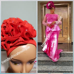 Red color rose design Women-turban. One size fit all turban. Beautiful flower design with a side brooch/beaded and stoned to add decor to your turban