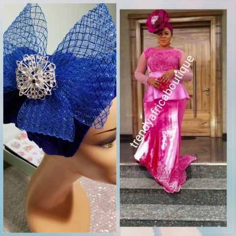 Soft Velvet/net royal blue  color Women-turban. One size fit all turban. Beautiful flower design with a side brooch/beaded and stoned to add decor to your turban