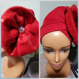 Red color Women-turban. One size fit all turban. Beautiful flower design with a side brooch/ embellished with crystal stones to add decor to your turban
