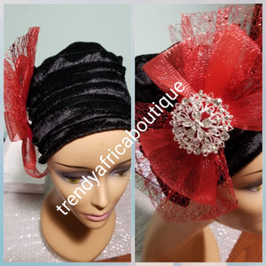 Velvet tubans in 3 elegant colors. Women-turban. One size fit all turban. Beautiful flower design with a side brooch/ embellished with crystal stones  and contrasts net to add decor to your turban