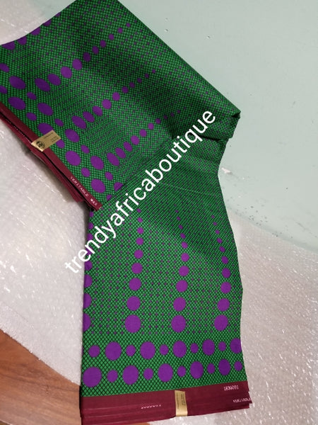 Hitarget African/Ankara wax print fabric. Sold per 6yds. Price is for 6yds soft texture, excellent quality. Green/purple