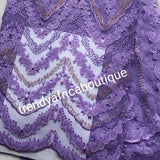 New Arrival of African French Lace fabric. Sweet lilac color. Stoned/Sequence French lace. Great Quality