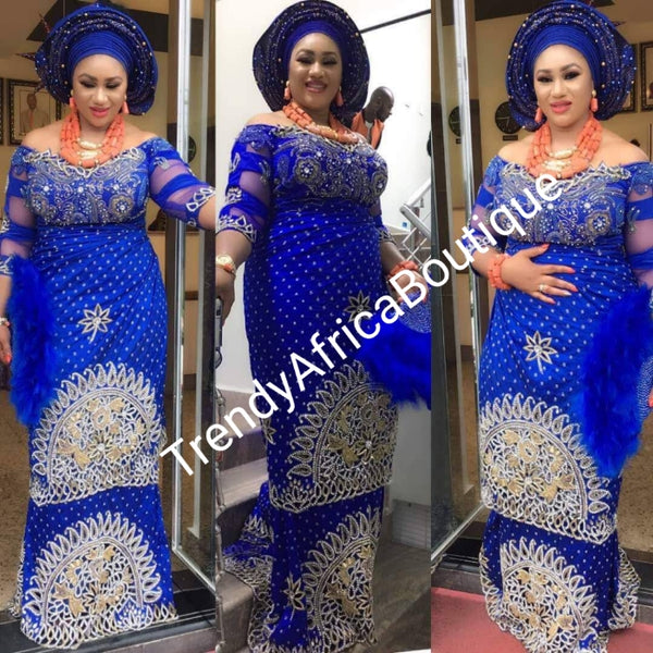 Ready to ship: Royal blue VIP hand beaded and stoned Nigerian traditional Celebrant George wrapper with matching blouse. Niger/Delta/Igbo women Georges. Quality George wrapper for high society party. Sold as set of 2 wrapper +1.8yds blouse