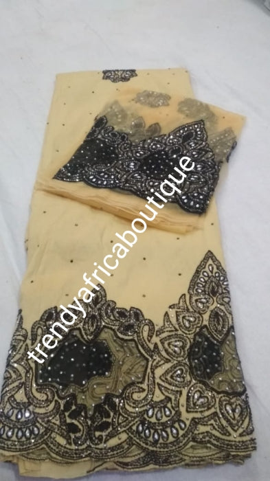 Gold/black mix all over crystal stones, organza border design. Nigerian VIP hand stoned silk George wrapper. 5yrd + 1.8yrds matching net blouse. Igbo/Nigerian Wrapper. For wrapper or skirt/blouse. Excellent lustrous quality