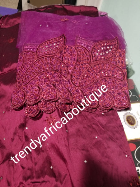 Clearance: Quality Wine Embroidery silk George wrapper + net blouse. Small-George. Sold as a set of 5yds wrapper and 1.8yds matching blouse