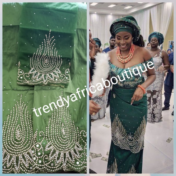 Clearance item: Silk George wrapper. Hand stoned with hand cut border. Nigerian/igbo/delta Bridal wrapper. Quality indian silk Georged with hand stoned in Olive green. Big mark down price
