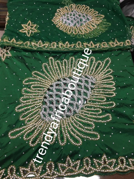 Ready to ship: emerald Green VIP hand beaded and stoned Nigerian traditional Celebrant George wrapper with matching blouse. Niger/Delta/Igbo women Georges. Quality George wrapper for high society party. Sold as set of 2 wrapper +1.8yds blouse