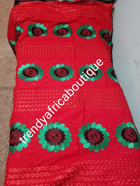 Latest design: Original quality African Swiss Voile Lace fabric Red/Green combination fabric for making Africans  party dress. Soft Red lace in 5.5yds + 2yds green voile for blouse combinations. Sold together as a set.