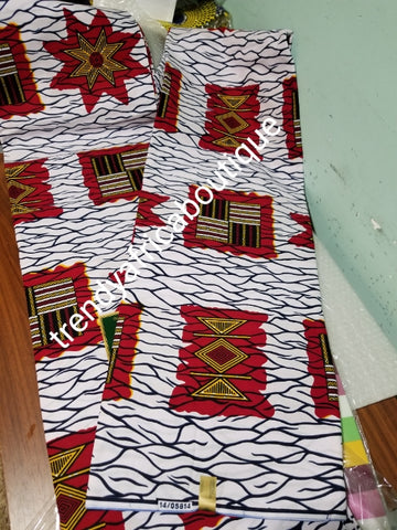 Quality Guarantee African Veritable 100% cotton wax print fabric. Soft texture with beautiful design. African print Sold per 6yards in lenght. Price is for 6yds.