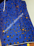 Veritable wax print fabric.  Beautiful royal blue/orange stars in 100% cotton. Excellent quality. Sold per 6yds length