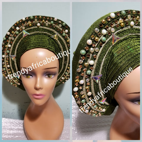 Metallic Olive green/champagne aso-oke embellished with beads auto-gele. Wahala free gele already made for you with finest quality aso-oke. Easy adjustment for proper fit at the back. Original quality from Nigeria.