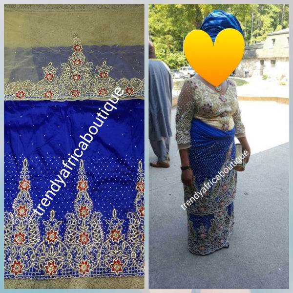 Sale sale: Big Exclusive original crystal stoned V.I.P Celebrant silk George wrapper. Nigerian/Igbo/delta women George. Royal blue with champagne gold contrast blouse in 1.8yds