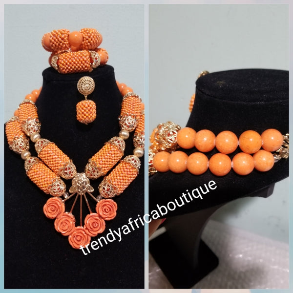 Round coral-necklace set in 2 row necklace. 3pcs set Nigerian Bridal coral beaded necklace set. Matching bracelet and earrings