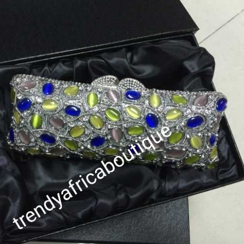 Quality evening hand clutch. Crystal Clutch/purse.  All over dazzling crystal stones. Silver/ multi color crystal stones