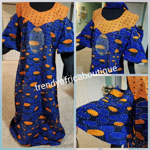 "Sale sale: Ankara-dress, embellished with shinning Swarovski stones to perfection! Fit Burst 44"" and 59"" lenght shoulder to floor. Made with Quality hitarget Ankara. Comes with a matching headtie. Latest Ankara Kaftan dress"