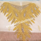 "Champagne gold/gold Heavily-beaded net for making modern blouses. Popularly use by Igbo/Delta/edo women for big Occasions. Comes in 1.8yds lenght already design for your beautiful blouse. 1.8yds × 55"" width."