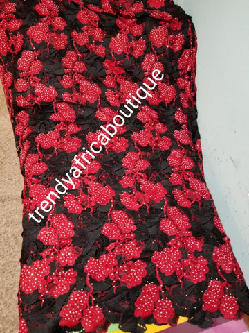 Classic Cord-lace fabric Black/red swiss cord lace fabric. Latest guipure-lace embellished with dazzling crystal stones all over. Sold per 5yds, price is for 5yds. Nigerian party fabric. Original quality