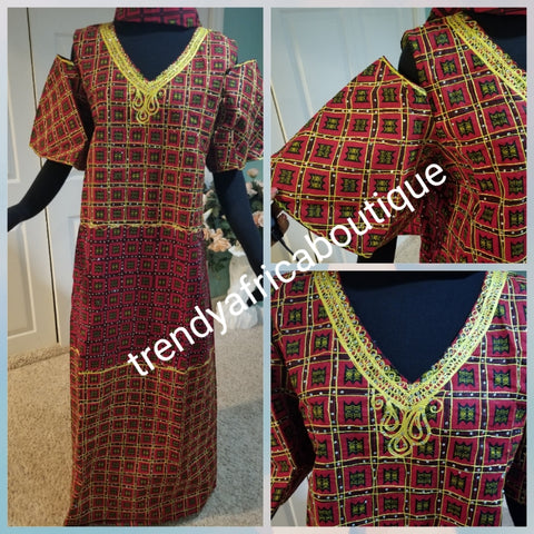 "Clearance: Embriodered and stoned multi color Ankara-kaftan Long dress embellished with shinning Swarovski stones to perfection! Fit Burst 46"" and Full lenght 55"". Made with Quality Ankara/stoned work. Flared sleeves"