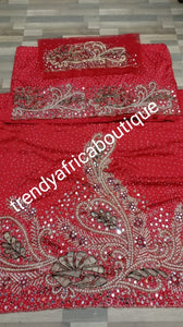 Ready to ship: RED Royal wedding/VIP hand beaded and stoned Nigerian traditional Celebrant George wrapper with matching blouse. Niger/Delta/Igbo women Georges. Quality silk George wrapper for high society party. Sold as set of 2 wrapper +1.8yds blouse