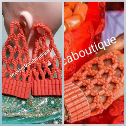 Bridal-accessories for Nigerian Traditional wedding ceremony. coral  hand glove 2 pairs. use by Bride. Edo/Bini Traditionall wedding. Sold in 2 pairs and price is for the 2 pairs