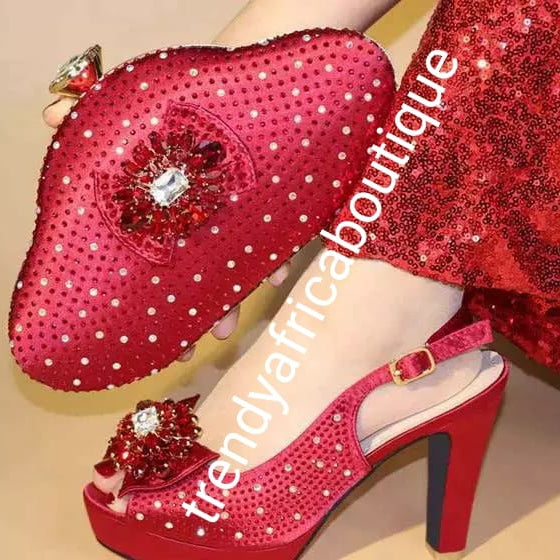 "New arrival Size 39 in Red Italian matching platform shoe and hand clutch. Embellish with crystal stones Italian style shoe and bag. Sold as a set. Heel is 4"" shoe run big in size. Comfortable wear"
