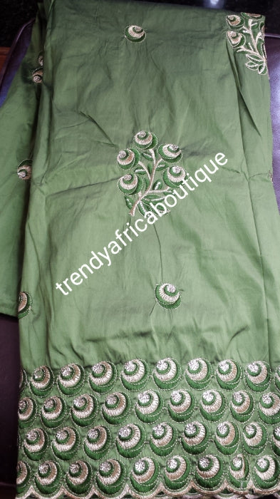 Clearance sale! Original quality indian Embroidery Silk George wrapper for Nigerian party dresses. Indian-george. Beautiful olive green silk george/gold.  all over Gold embroidery Sold per 5yds. Feel the difference in Quality!!