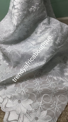 Clearance: Beautiful soft texture pure White Swiss lace fabric. All over embriodery and stones. Original quality design. African fabric Sold per 5yds.price is for 5yds.