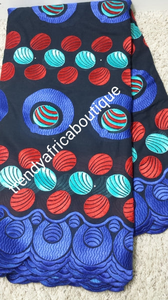 Sale: Original quality African Swiss Voile Lace fabric for making African  party outfit. Beautiful black/Red/royal blue embroidery.  Sold per 5yds. Price is for 5yds