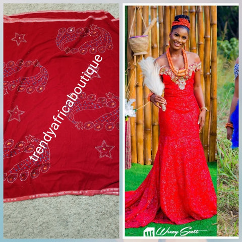 Clearance Red Velvet wrapper. Original quality beaded and stoned. Use for Nigerian Bridal wrapper/traditional weddings ceremony. Igbo/Edo Bride wrapper in velvet. Soft luxurious quality. Sold per 5yards