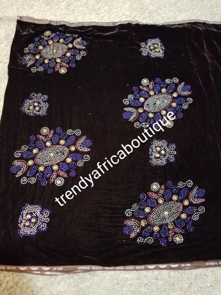 Clearance chocolate brown with multi color stone Velvet fabric. Original quality beaded and stoned. Use for Nigerian Bridal wrapper/traditional weddings ceremony. Igbo/Edo Bride wrapper in velvet. Only 2.5yds left and the price is for 2.5yds