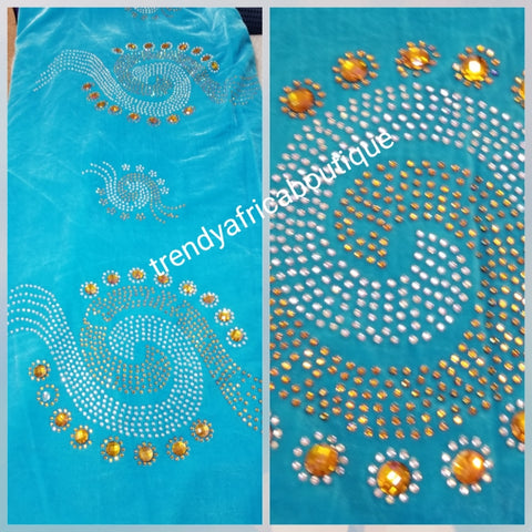 Clearance turquoise blue/multi color stoned and beads Velvet fabric Original quality beaded and stoned. Use for Nigerian Bridal wrapper/traditional weddings ceremony. Igbo/Edo Bride wrapper in velvet. Sold per 5yds. Price is for 5yds