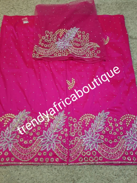Back in stock & Ready to ship: luxurious Quality taffeta Silk George wrapper. Fuschia pink Nigerian Bridal beaded and crystal stoned George wrapper. Sold as  2 wrapper + 1.8yds Net for blouse. Niger/delta/Igbo traditional bridal outfit