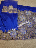 Back in stock, Royal blue handcut crystal stoned VIP Madam silk George. Igbo women traditional celebrant George wrapper  with blouse. 1.8yds net for blouse 2 wrapper ready for use.