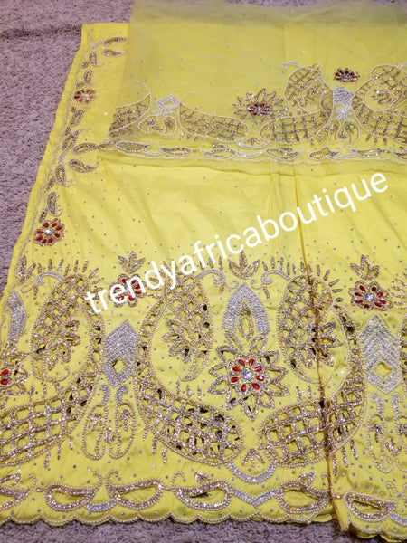 Ready to ship:  quality Hand Stoned sweet yellow  VIP taffeta Silk George wrapper and matching blouse. Red and white dazzling Crystal stones. Hand cut work to perfection. Use by Nigerian Igbo/Delta wrapper