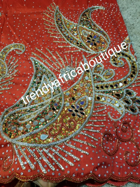 Ready to ship: Royal wedding/VIP hand beaded and mirror stoned Nigerian traditional Celebrant George wrapper with matching blouse. Niger/Delta/Igbo women Georges. Quality George wrapper for high society party. Sold as set of 2 wrapper +1.8yds blouse