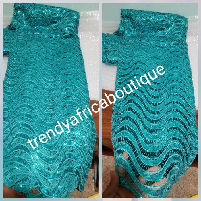 Clearance:  turquoise blue Cord-lace fabric for making Nigerian party outfit. Sold per 5yds. Price is for 5 yds. Hand cut Soft Sequence guipure-lace