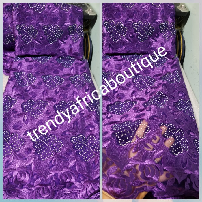 Clearance: Luxurious Beautiful purple embriodery net French lace fabric Swiss Quality lace embellished with crystal stones all over. Sold per 5yds. Nigerian french lace fabric. Rich quality for wedding dress