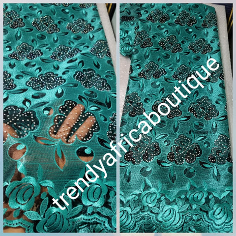 Luxurious Beautiful teal Green embriodery net French lace fabric Swiss Quality lace embellished with crystal stones all over. Sold per 5yds. Nigerian french lace fabric. Rich quality for wedding dress