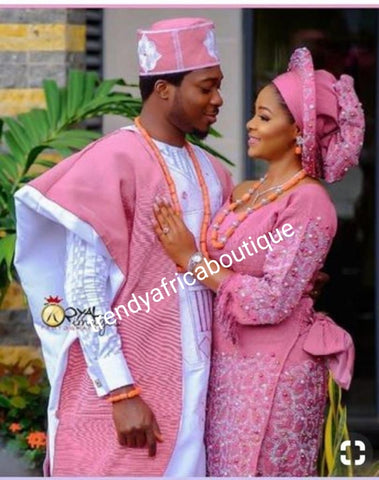 coral pink beaded and swarovaski crystal stoned Aso-oke set. Custom-made design. Make-to-order only. Aso-oke set for man and woman. Can be order for individual only or complet set for couple. 6-8 weeks for production. Nigerian Traditional wedding outfit