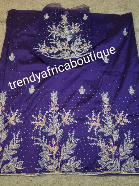 Sale: purple embroidery/stoned Taffeta Silk George wrapper for Nigerian women. 5yds wrapper + 1.8yds matching net for blouse.  Sold as a set. Embriodery/beads and stone work. Small-george, aso-ebi George
