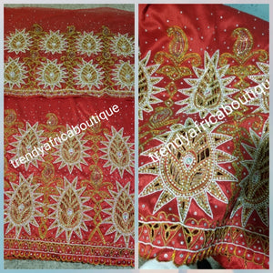Sale sale!!: Georgous tomatoes Red  Nigerian VIP hand stoned Jazz silk George wrapper. 5.5yds + Bonus 2 yrds matching net for Blouse.  Heavy design with hand cut and Crystal stoned /Nigerian Wrapper for Bride outfit