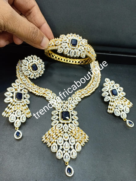 New arrival 4pcs celebrant set. America diamond jewelry set in 22k Electroplated high quality, mounted with CZ clear stones setting and  Navy blue Stone accent. hypoallergenic. Classic choker drop necklace and, drop earrings. Bridal-accessories