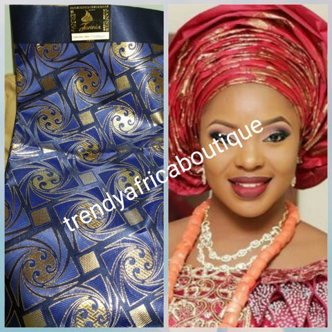 "Navyblue/gold Nigerian Gele/headtie fabric for Traditional Head wrap. Regular-headtie size Gele 72""x36. One in a pack. Regular-headtie big gele for Nigerian party. Aso-ebi available a1"